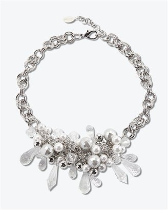 Crystal Glass-Pearl/Grey Necklace - Clearly Amazing 