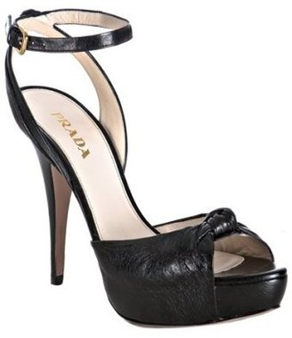 Prada black leather knot detail platform sandals - Heels