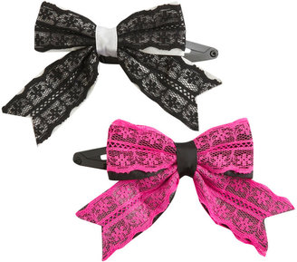 Two Mesh Bow Clips - Hair Bow