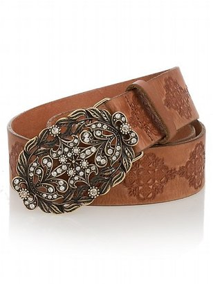 Leather Embossed Belt with Leaf Plaque Buckle - Accessories