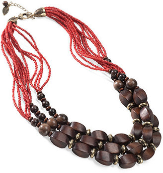 Triple row wood beaded necklace - Coldwater Creek