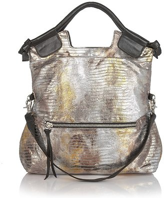 Foley + Corinna Mid City Metallic Snakeskin-Embossed Leather Tote - Metallic Purses