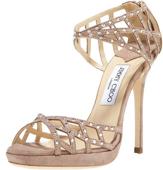 Jimmy Choo Crystal-Detail Suede Sandal - Strappy Sandals
