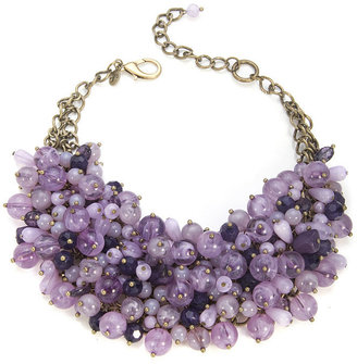 Sequin Purple Beaded Bib Necklace - Jewelry