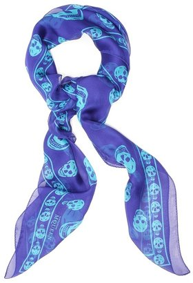 Royal Blue/sky Blue Skull Scarf - Alexander McQueen Scarves