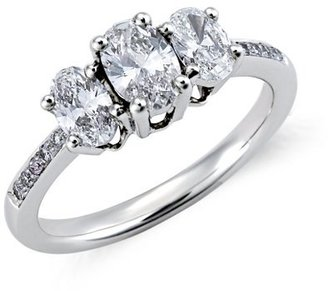 Oval-Cut Diamond Three-Stone Pavé Engagement Ring in 18k White Gold (1 ct. tw.) - Diamond Ring