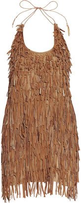 Catherine Malandrino Fringed leather mini dress - Fabulous Fringe