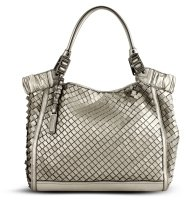 Metallic Woven Leather Bag - Metallic Purses