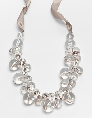 Catherine Stein Woven Ribbon Lucite Beaded Necklace - Catherine Stein Necklaces