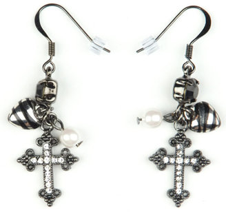 FULL TILT Zebra &amp; Cross Earrings - Dangle Decorative Earrings