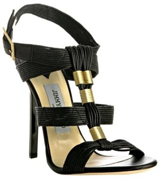 Jimmy Choo black waxed leather 'Serena' sandals - Strappy Sandals