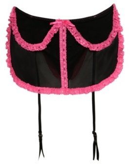 Black and Pink Lace Apron Thong - Torrid