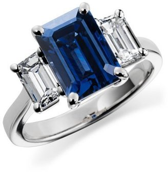 Emerald-Cut Sapphire and Diamond Ring in 18k White Gold - Diamond Ring