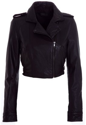 SWAGGA&amp;SOUL - Cropped washed leather biker jacket - Dress Like Kimberly Wyatt