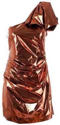 DESIGNERS REMIX - Metallic one shoulder silk dress - Dress Like Carrie Underwood