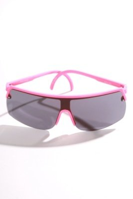 Neon-Pink Trim Aviator Shield Sunglasses - Plastic Neon Sunglasses