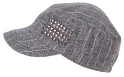 Grey Metallic Tweed Studded Cadet - The Best Studded Hats 