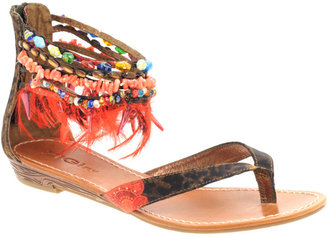 Zigi Feather And Bead Flat Sandal - Ethnic Beaded Sandals