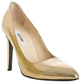Moschino gold crackled leather pumps - Dress Like Selita Ebanks