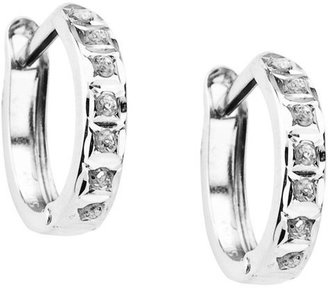 14Kt. White Gold Diamond Accent Round Hinged Hoop Earrings - White - Diamond Hoops
