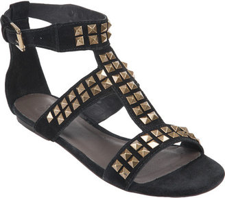 Joie Turn Me Loose Studded Suede Sandal with antique gold studs in Caviar or Elephant - Sandals