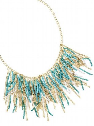 Turquoise Seed Bead Fringe Necklace - Beaded Necklaces