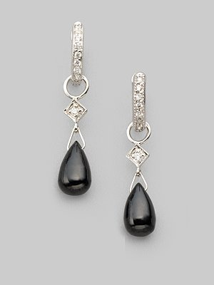 Jude Frances Black Onyx, Diamond &amp; 18k White Gold Earring Charms - Jude Frances