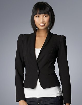 Love Ady Strong-Shoulder Black One-Button Blazer - Lord &amp; Taylor