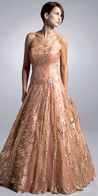 Strapless Metallic Evening Gowns by Nika - Princess Dresses