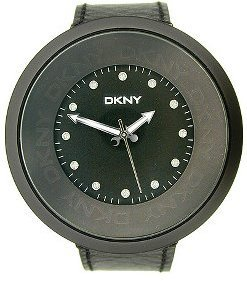 DKNY Black Leather Oversized Case And Dial Women&#39;s Watch #NY4566 - Oversized Watches for Women