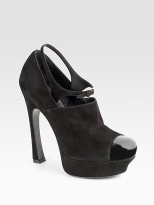Yves Saint Laurent Palais Suede Cap-Toe Pumps - Yves Saint Laurent