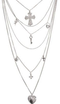 Silver Filigree Cross Layered Necklace - Dress Like Jenny Humphrey