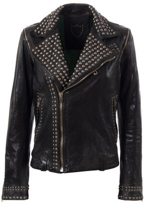 HTC - Studded two-way leather biker jacket - HTC