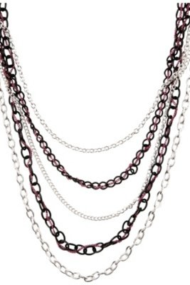 Silver Fuchsia and Black Layered Chain Necklace - Torrid