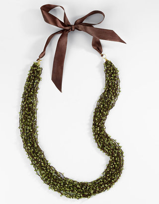 Catherine Stein Olivine Woven Beaded Ribbon Necklace - Catherine Stein Necklaces