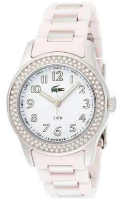 Lacoste Women&#39;s 2000466 Advantage Crystal Pink Plastic Bracelet White Dial Watch - Lacoste
