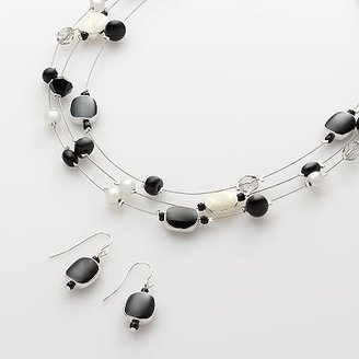 Croft and barrow silver-tone beaded illusion necklace and drop earring set - Kohl&#39;s
