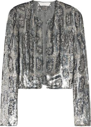 Stella McCartney Cropped sequin-embellished crepe jacket - Sequined Sweaters