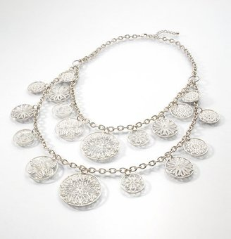 Silvertone Filigree Disc Necklace - Sterling Necklaces