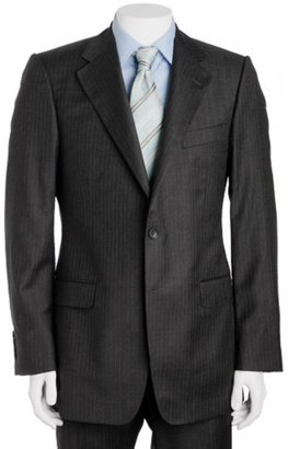 Gucci dark grey striped wool 2-button suit with flat front trousers - Gucci