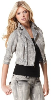 Femme for DKNY Jeans Jacket, Stretch Denim Cropped Moto - Outerwear