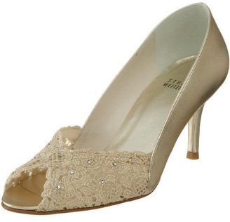 Stuart Weitzman Women&#39;s Chantelle Peep Toe Lace Pump - Evening Pumps