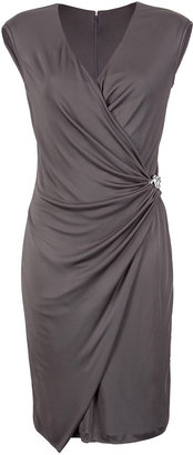Roberto Cavalli Taupe Wrap Style Dress With Jewelry Detailing - Clothes