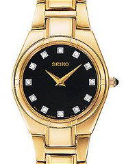 SUJE26 Seiko Diamond Ladies Stainless Steel Watch on Yellow Gold Plate Bracelet - Timeless Gold and Diamond Watches