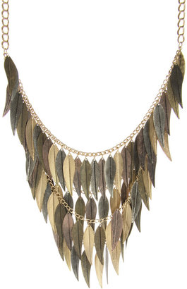 ASOS Mixed Metal Statement Multi Leaves Necklace - Statement Necklace