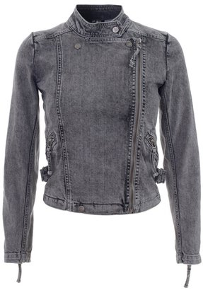 IRO - Denim motorcycle jacket - Get This Look-Jessica Alba