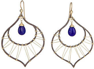 Olia Designs Blue Jade Peacock Earrings - Hoop Earrings