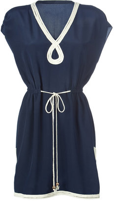 Milly Navy Rope Silk Tunic-Dress - Sweater Dress and Thigh-High Boots