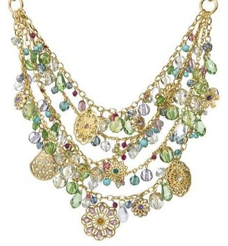 Filigree Short Bib Necklace - Multi - Statement Necklace