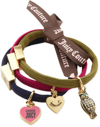 Juicy Couture &#39;Charms&#39; Elastic Hair Bands (Set of 3) - Accessories